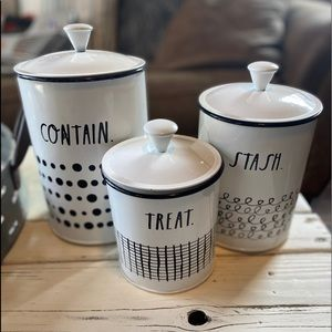 Rae Dunn Set of 3 metal Canisters